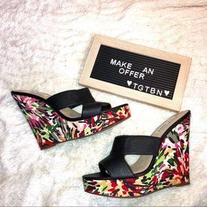 Steve Madden Bright Pattern w/ Leather Wedges 9.5
